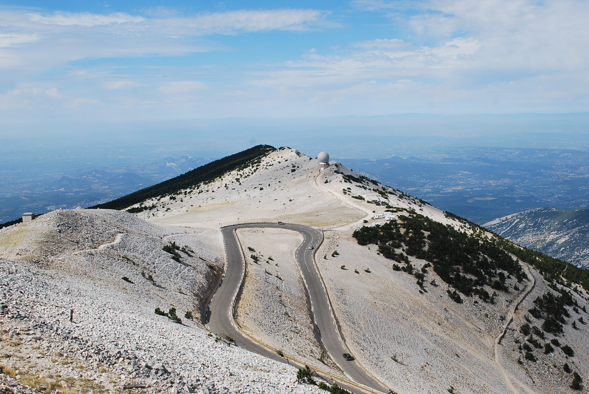 The road toward the summit of Ventoux.